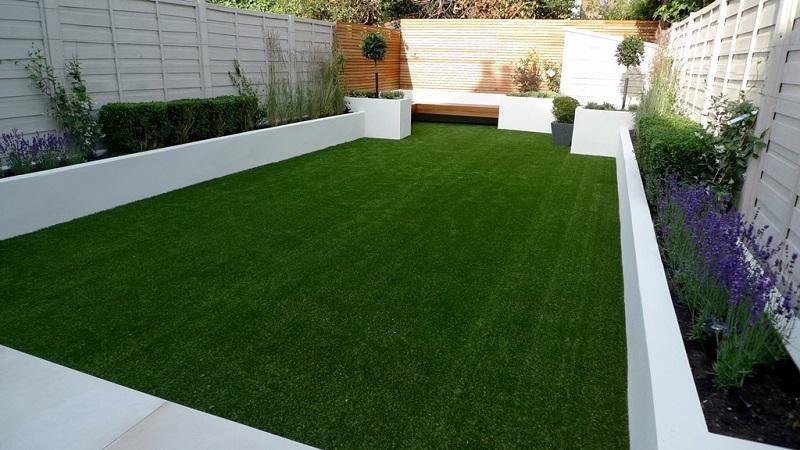 diseño de jardines con césped artificial
